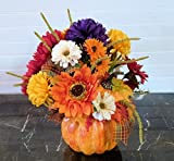 Pumpkin Centerpiece for Table with Mums, Pumpkin Table Arrangement with Sunflowers, Pumpkin Centerpiece