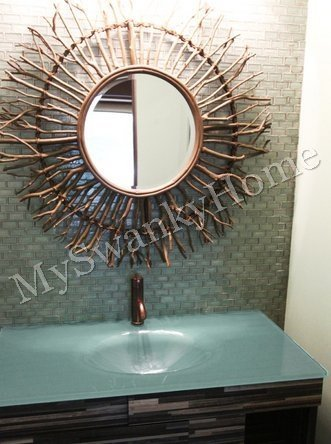 Extra Large Birch Branch Wood Sunburst Wall Mirror