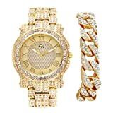 Bling-ed Out Hip Hop Gold Luxurious Men's Rapper Watch w/Elegant Roman Numeral Easy Reader Dial and Iced Out Gold Tone Cuban Bracelet Set - L0501 Cuban Set