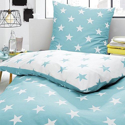 Bettwäsche Sterne türkis Perkal , Größe:135x200 cm + 80x80 cm