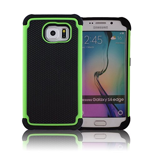 TCD for Samsung Galaxy S6 Edge [Green] Executive Armor Defender Series [HIGH Impact] Multi Layer [Hard/Soft Combo] TPU & Hard Plastic Shock Absorbent Case [Screen Protector Stylus]