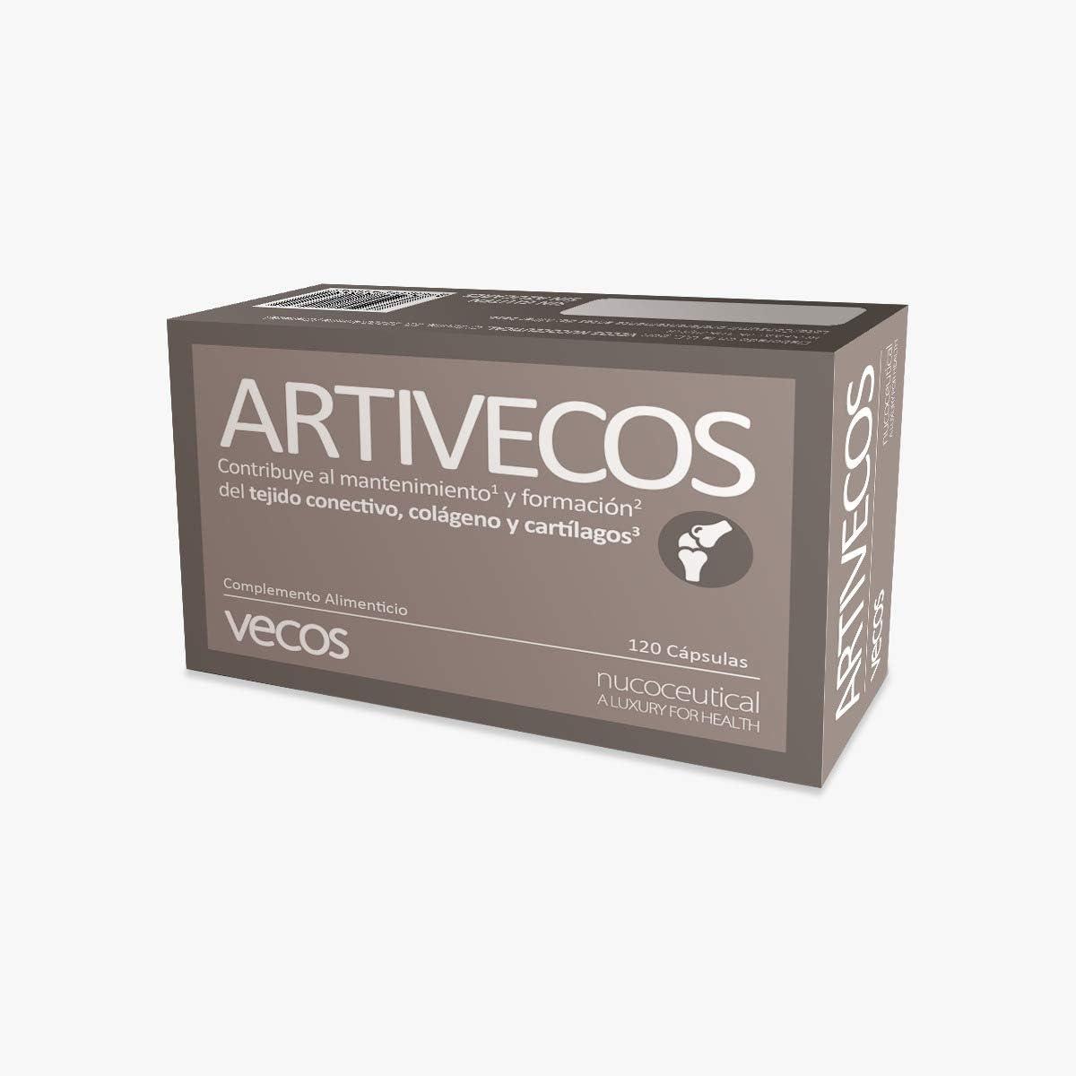 Suplemento Artivecos para el cuidado de huesos y articulaciones – Formula completa con colágeno, ácido hialurónico, glucosamina, condroitina, MSM, manganeso, aloe vera y vitamina C – 120 cápsulas