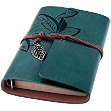 Beyong Travel Journal Notebook, Refillable Leather Journal Diary for Men Women, Vintage Planner with Blank Unlined Paper (Dark Blue)