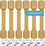 Baby Proofing Safety Cabinet Locks - Child Proof Latches for Drawer Cupboard Dresser Doors Closet Oven Refrigerator - Adjustable Childproof Straps by Oxlay - Tan   6 Pack