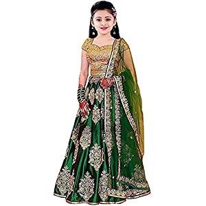 Shreenathji Fashion Girl's Satin Semi-stitched...