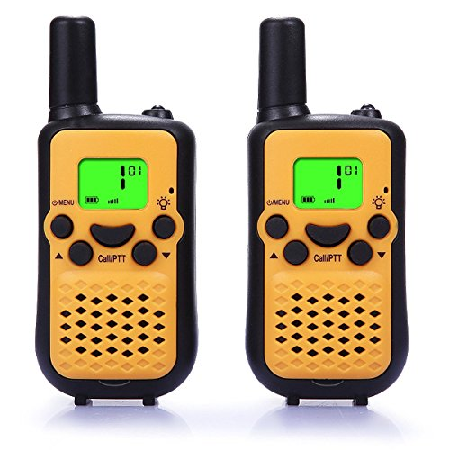 Kids Walkie Talkies, 2 Pack of HOTOR Durable 22 Channel UHF Handheld Walkie Talkies for Kids, 3.7 Miles Rang(Yellow)