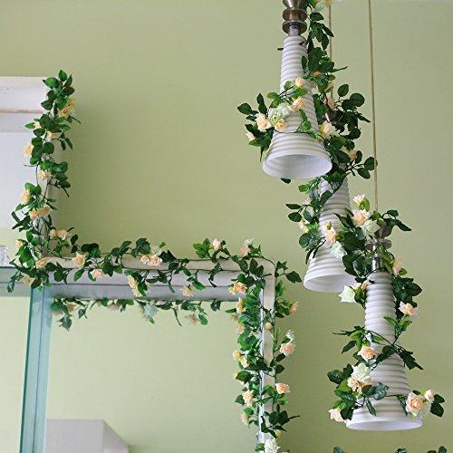 Rose Garland Artificial Flower Vine Silk Flower Green Leaf Vine Garland Home Decor Wedding Garland Decoration Pack Of 5 (beiges) (Flower Garland)