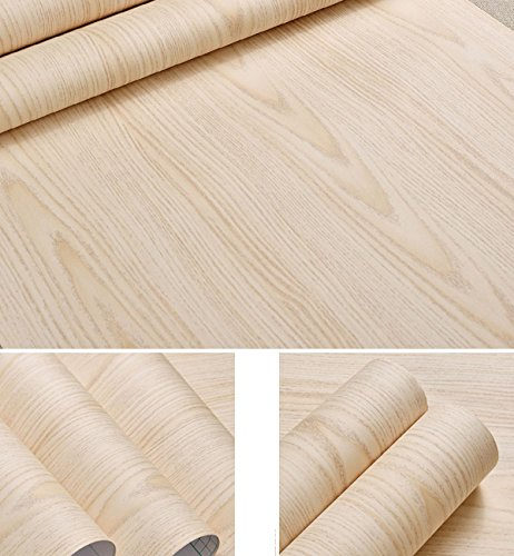 Self Adhesive Faux Light Maple Wood Vinyl Contact Paper for Kitchen Cabinets Shelves Drawer Cupboards Table Desk Arts and Crafts Decal 24x117 Inches (Maple Kitchen Cabinets)