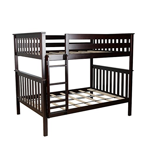 Max & Lily Solid Wood Full over Full Bunk Bed, Espresso by Max & Lily