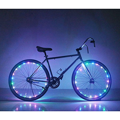 [Soondar GEC0041 Multicolored 20-LED Bicycle Bike Rim Lights] (Blue Led Rim)