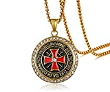 PJ Jewelry Mens Stainless Steel Round Medal Rhinestone Knights Templar Maltese Cross Pendant Necklace