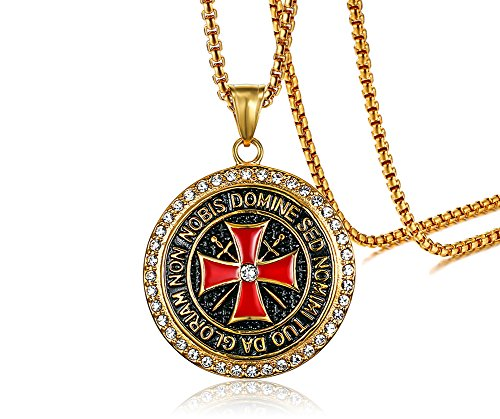 PJ Jewelry Mens Stainless Steel Round Medal Rhinestone Knights Templar Maltese Cross Pendant Necklace - Maltese Cross Shape