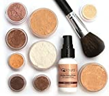 make up kit for starters - iQ Natural Mineral Makeup Starter Kit – Powder Brush, Silk Primer, Mineral Foundation, Setting Veil, Bisque Concealer, Bronzer + Eye Shadow for Flawless Bare Looking Skin, Full Set (Medium Beige)