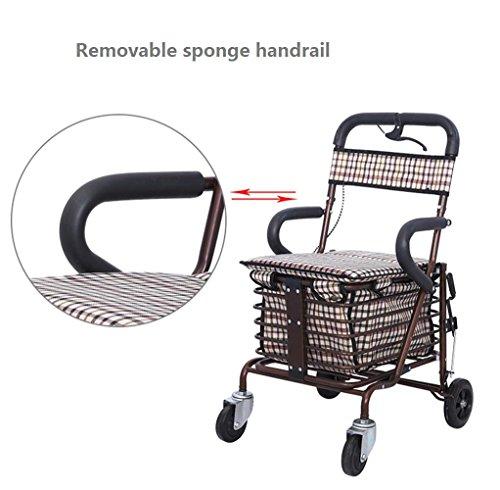 mxxyy plegable carrito de la compra con silla, andador de 4 ...