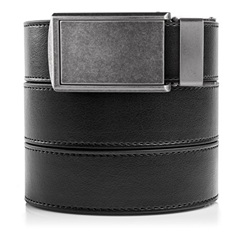 "SlideBelts Men's Vegan Leather Belt without Holes - Graphite Buckle / Black Leather (Trim-to-fit Up to 48"" Waist)"