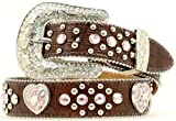 girls cowgirl belt - Nocona Girl's Heart Conchos Rhinestones Belt, Brown, 28