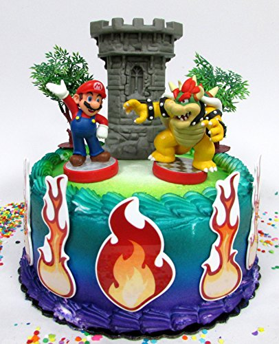 Super Mario Brothers Mario Versus Bowser Castle Themed Birthday Cake Topper Set