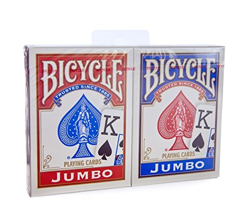- Bicycle Jumbo Index Rider Back Playing Cards, Red and Blue, 2 Count