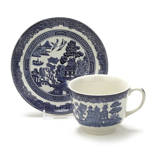 Blue Willow Cup - Blue Willow by Johnson Bros., Earthenware Cup & Saucer