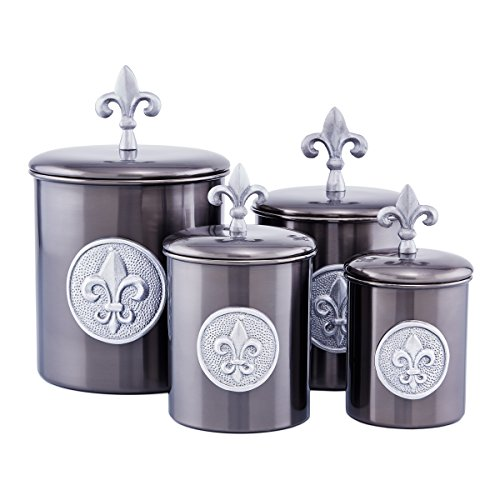 Old Dutch 4 Piece Fleur de Lis Canisters with Fresh Seal Covers, Antique - Seal Lis De Fleur