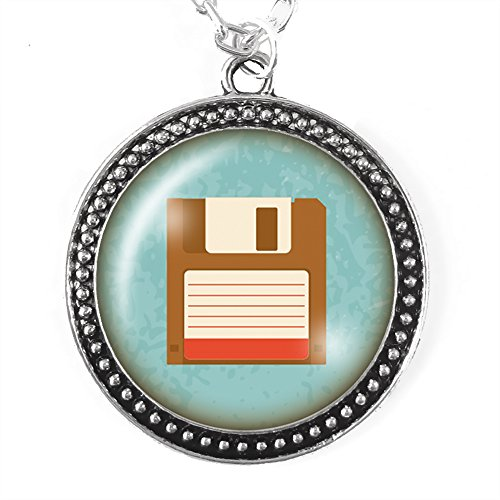 Floppy Disk Costume (Retro Floppy Disk Necklace, Silver Pendant with Domed Glass)