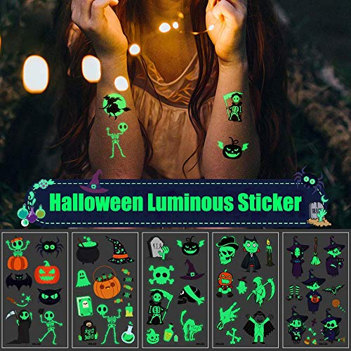 LIARTY Halloween Luminous Stickers, Skull Stickers, Ghost, Pumpkin Fit for Hand/leg/face, 96Pcs Waterproof Temporary Tattoo Kit