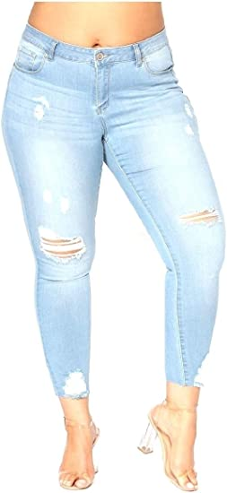 Tootess Womens Slim Plus-size High-waisted Jeans Denim Jeggings Tenths Pants