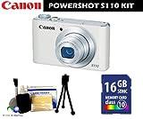 Canon PowerShot S110 Digital Camera (White) Bundle + 16GB Memory Card + 8 Piece Accessory Kit