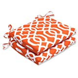 Cheap Pillow Perfect Outdoor New Geo Squared Corners Seat Cushion, Orange, Set of 2