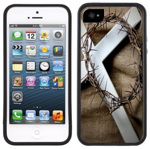 Kreuz Dornen | Christlich | Handgefertigt | iPhone 5 5s | Schwarze Hülle