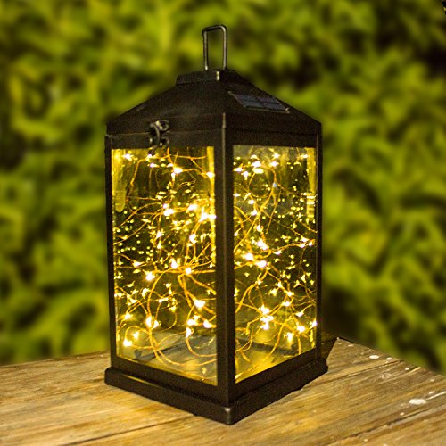 Solar Lanterns Outdoor Hanging Upgraded Waterproof Sunwind Solar Metal Decorative Table Light 2 Modes Steady on and Flash with 30 Warm White LEDs Copper Lights by SUNWIND