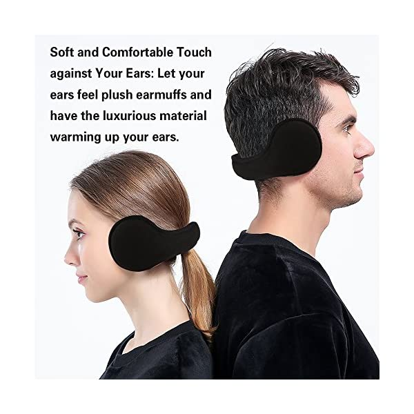 MOCOFO Classic Fleece Ear Muffs Collapsible Behind-The-Head Ear Warmers for Women and Men (Black) …