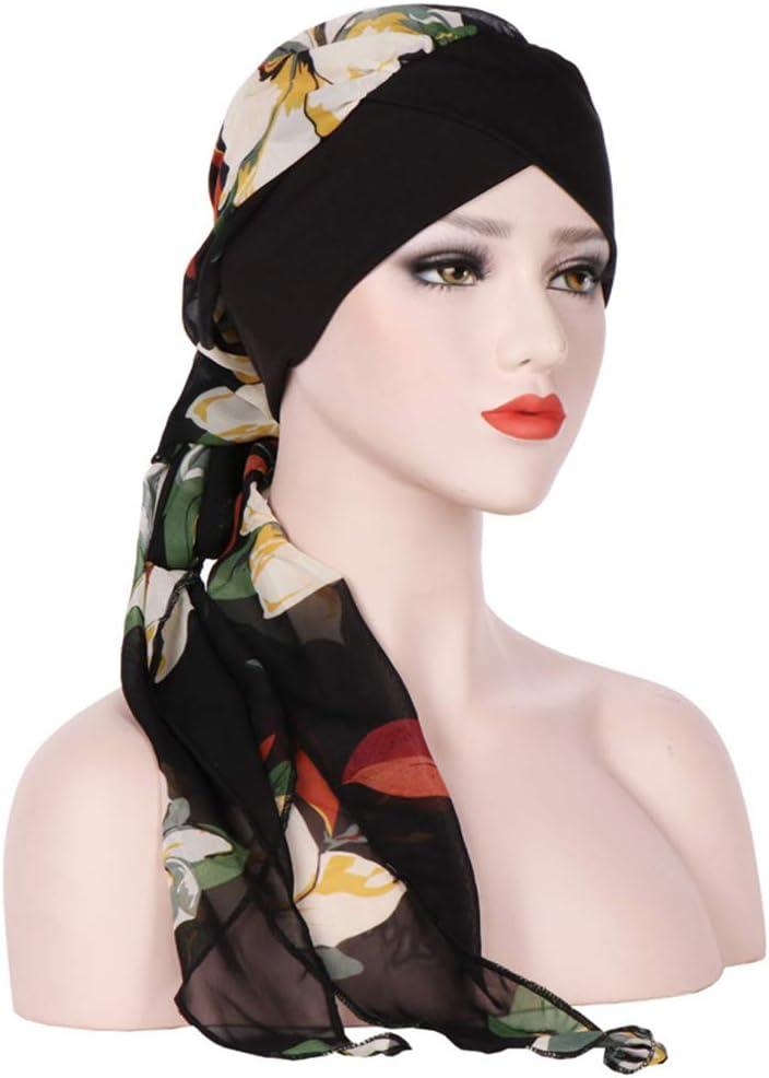 Amorar Mujeres Musulmana Pa/ñuelo Chemo Cap Gasa Sombrero Turbante Beanie Hat Largo Cola Gorro para La P/érdida de Cabello C/áncer