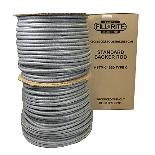 (FILL-RITE Pre-Caulking Filler Rope Backer Rod Roll Bulk, 1100 Feet Length x .75 Inch Width, Grey filler rope)