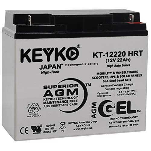 Battery 12V 22Ah - Fresh & Real 22Amp - Gel Deep Cycle AGM/SLA Designed for Generic Use - Genuine KEYKO KT-12220 HRT - Nut & Bolt L1 Terminal ()