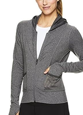 Nicole Miller Active Women's Mesh Full Zip Cropped Hoodie - Hooded Workout Sweatshirt
