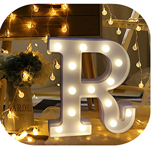 Hot Sale Alphabet LED Letter Lights, Keepfit Light Up White Plastic Letters Standing Hanging for Home Party Bar Wedding Decoration (R, 8.7