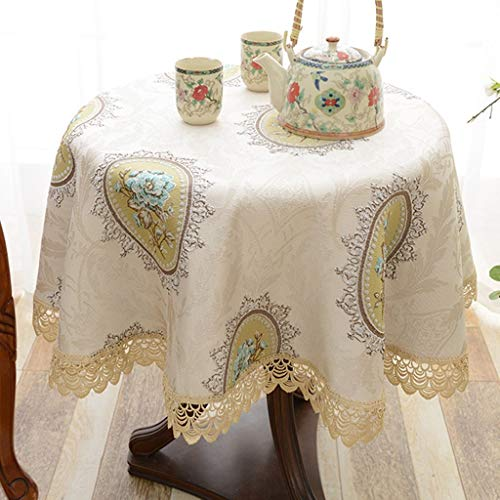 Quality Tablecloth Tablecloth Round Cloth Household Drapery Classy Pattern Embroidered Seamless Design Hollow Retro Round Coffee Table Small Round (Color : B, Size : Round-120CM)