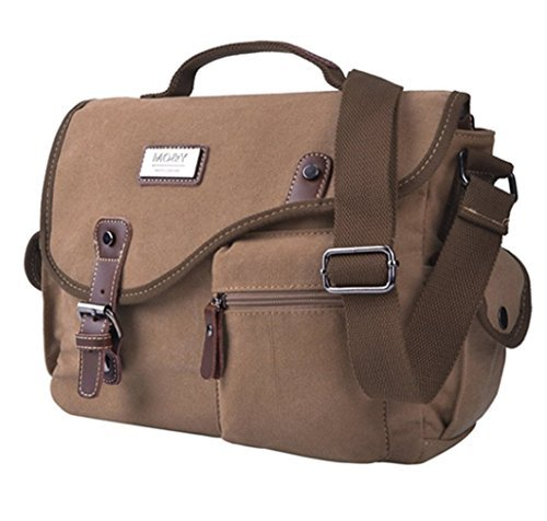 Canvas Messenger Shoulder Bag, EKOOS Retro Designe Unisex Messenger Bag Shoulder Bag Lightweight Crossbody Small Satchel Bag for School Travel Hiking Outdoor (Coffee) 12.6in(L)x9.5in(H)x3.94in(W)