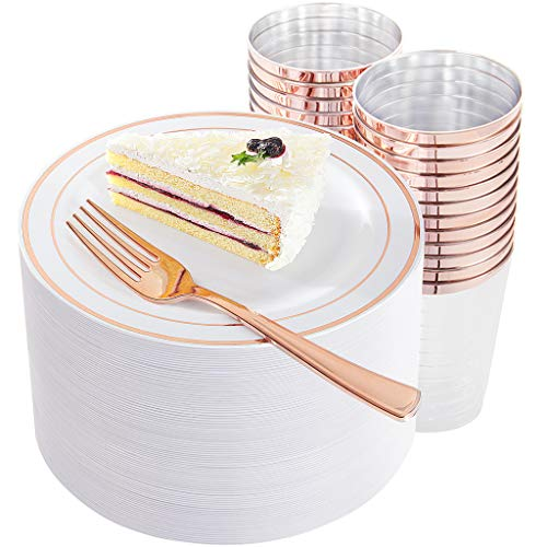 (150 Pieces Rose Gold Dessert Plates with Rose Gold Disposable Forks and Plastic Cups, Includes: 50 Pieces Salad Plates 7.5