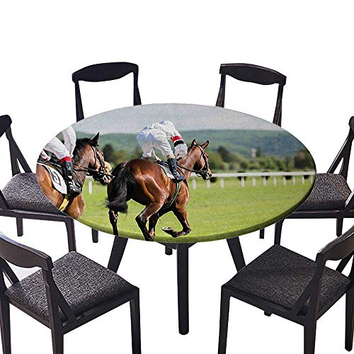 Modern Simple Round Tablecloth Performance Sport Horse Racing Galloping Jockeys Hobby Activity Picture for Kitchen 31.5