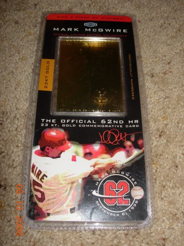 Mark Mcgwire Limited Edition 62nd Hr 23kt Gold Commemorative Baseball Card Wcoa 1998
