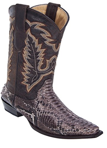 Ladies Snip Toe Genuine Leather Python Skin Western Boots Rustic Brown 0fD7tI5