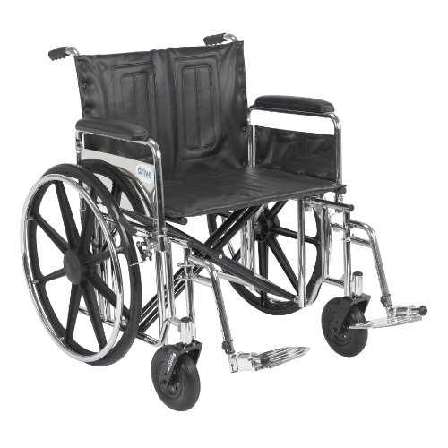 Drive Medical Sentra Extra Heavy Duty Wheelchair with Various Arm Styles and Front Rigging Options, Black, Bariatric 24