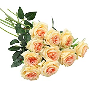 Nubry 10pcs Artificial Silk Rose Flower Bouquet Lifelike Fake Rose for Wedding Home Party Decoration Event Gift 70