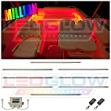 LEDGlow 8pc Million Color LED Boat Deck and Cabin Lighting Kit - 216 LEDs - Waterproof Connectors and Light Tubes - 2 Wireless Remotes