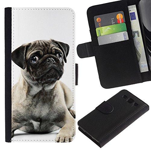 EuroCase - Samsung Galaxy S3 III I9300 - pug black white puppy cute button ear - Cuero PU Delgado caso cubierta Shell Armor Funda Case Cover