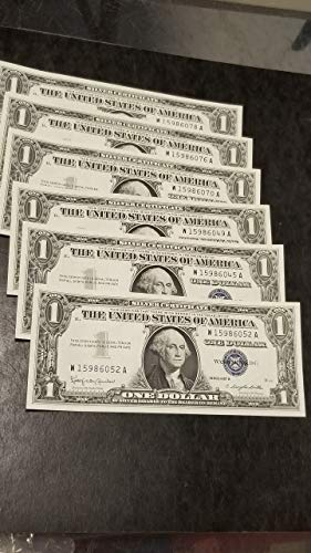 1957 -B $1 SILVER CERTIFICATES-6 SHARP CU POST-WWII CURRENCY NOTES-NEARLY CONSECUTIVE-VERN'S CARD & COIN Crisp Uncirculated