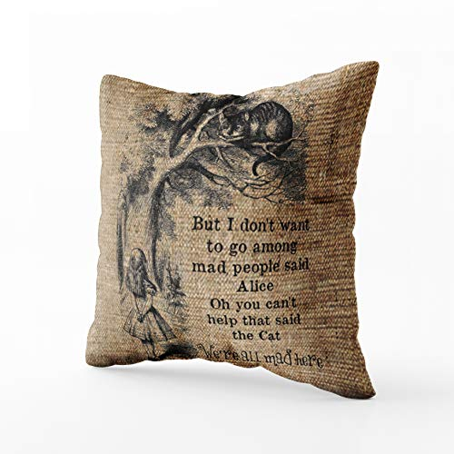Musesh alice in wonderland cheshire cat with alice accent Cushions Case Throw Pillow Cover For Sofa Home Decorative Pillowslip Gift Ideas Household Pillowcase Zippered Pillow Covers 18X18Inch
