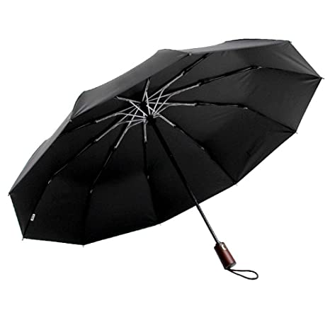 ef3fc36e8500 Amazon.com: PARACHASE Automatic Sun Umbrella Business Men Wooden ...